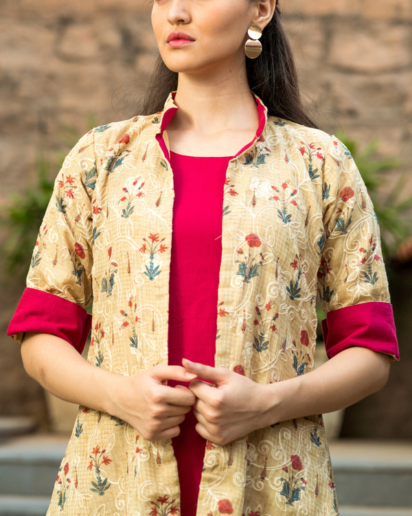Red cotton dress with kota embroidered jacket 1