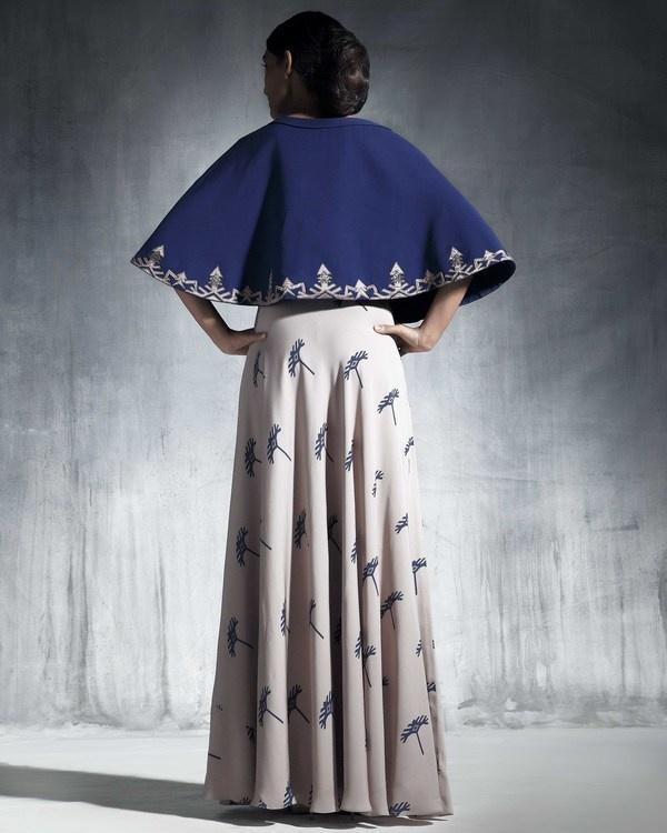 Ecru georgette silk skirt 1