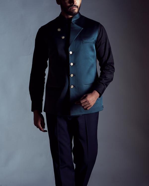 Teal blue nehru jacket 1