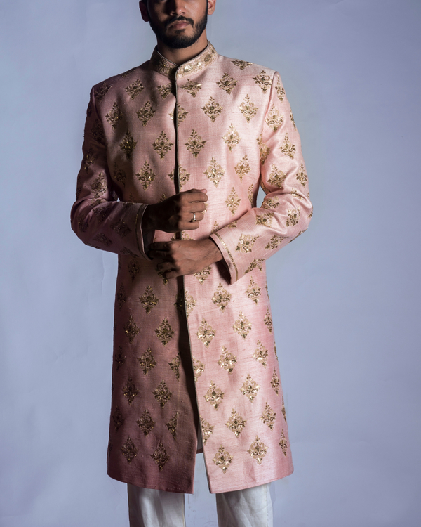 Light pink sherwani with chudidar 1