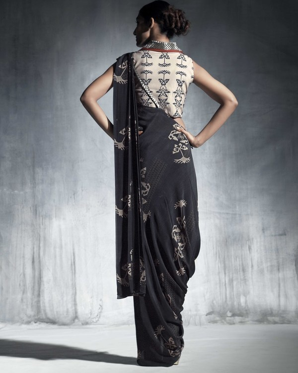 Silk crepe drape saree 1
