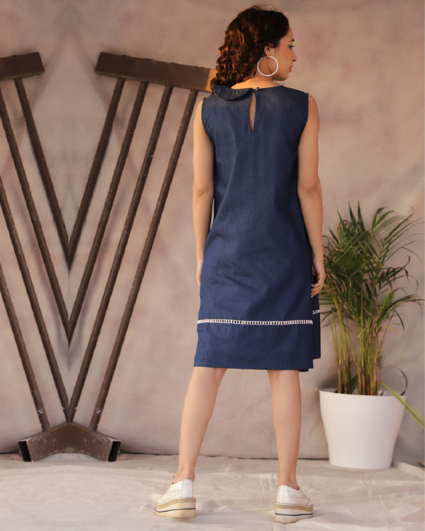 Lace detailed denim blue a-line dress 1