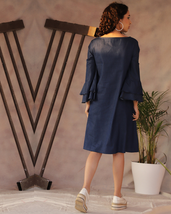 Denim frill a-line dress 2