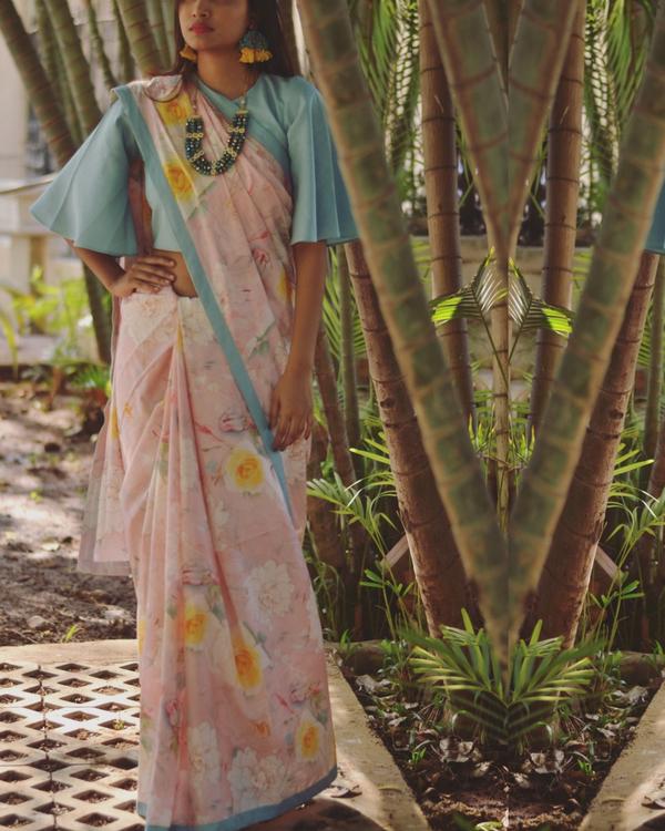 Cotton floral printed sari 1