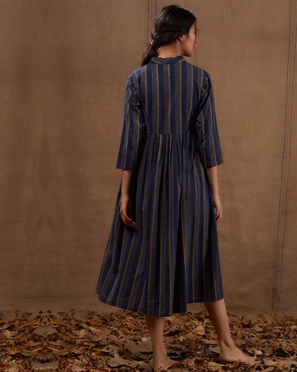 Blue cotton striped flared dress 2
