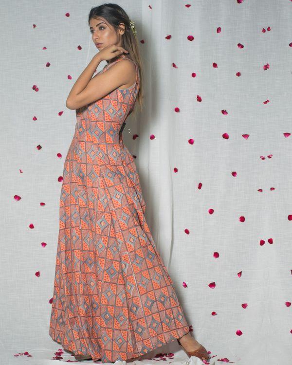 Printed peach maxi dress 2