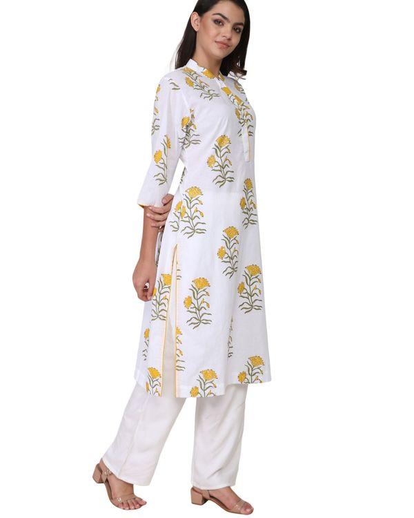 Yellow and green floral print cotton kurta 1