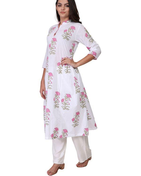 Pink floral print cotton kurta 1