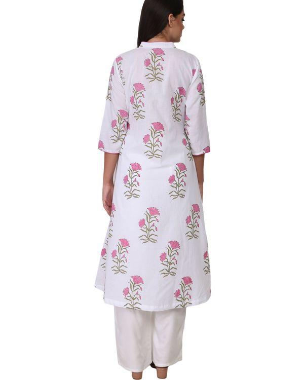 Pink floral print cotton kurta 2