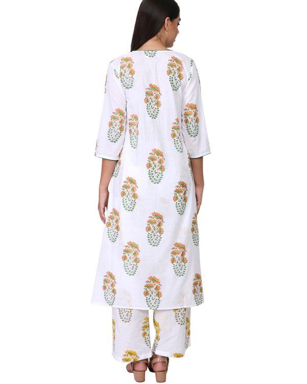 Orange and green floral print cotton kurta set - set of two 2