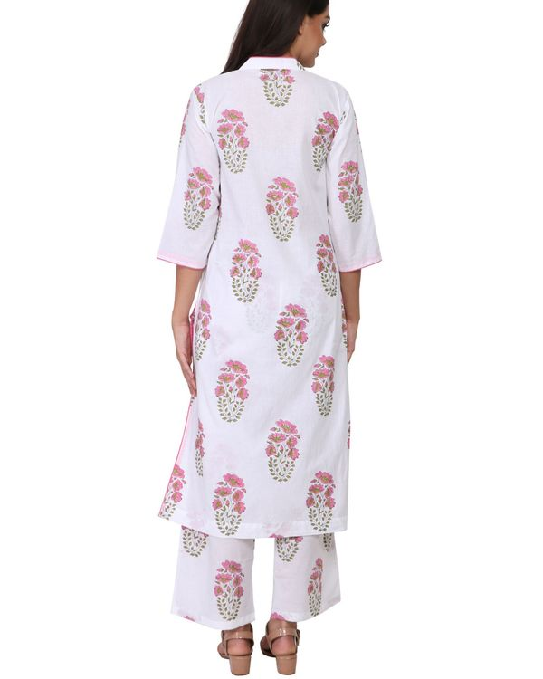 Pink and green floral print cotton kurta set - set of two 2