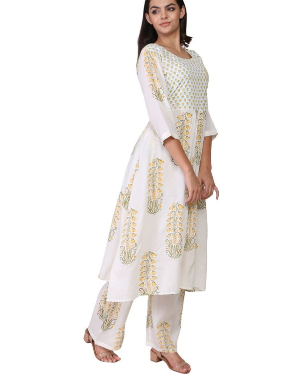 Yellow and green floral print cotton a-line kurta set - set of two 1