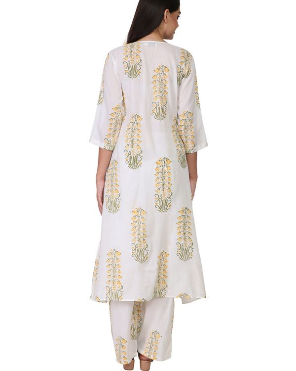Yellow and green floral print cotton a-line kurta set - set of two 2