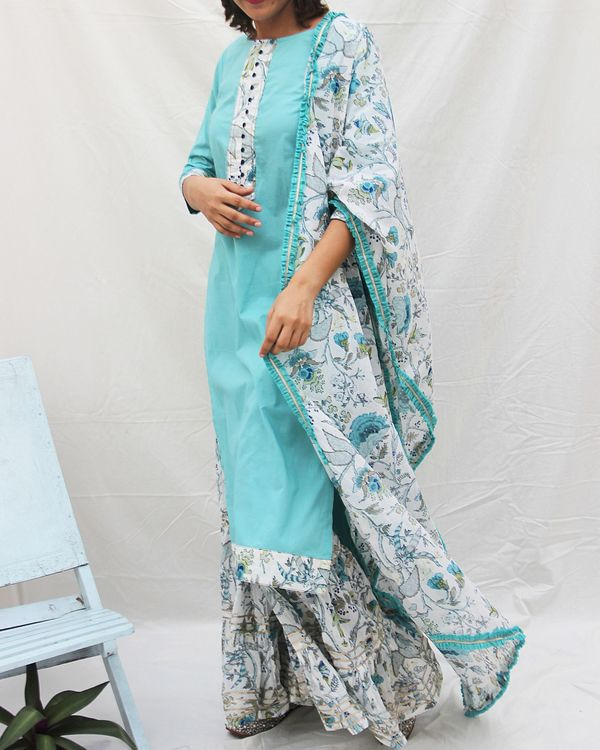 Plain long kurta with potali button in front and a gharara with dupatta -set of three 1