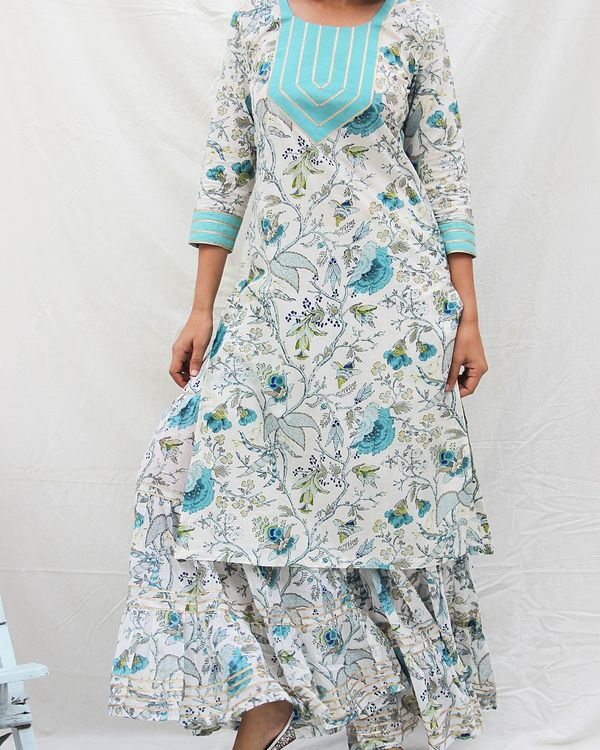 Printed kurta with gota work and gharara- set of two 2