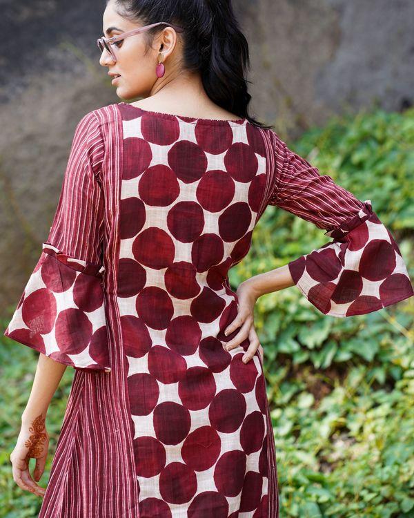 Maroon polka dots with stripes dress 2