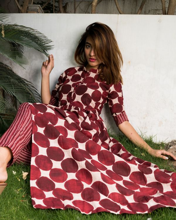 Maroon colored polka dot kurta with striped pants - set of two. 2