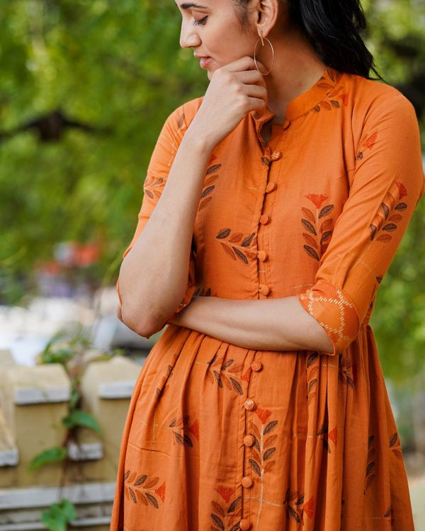 Rusted orange boota cape with pants - set of two 2