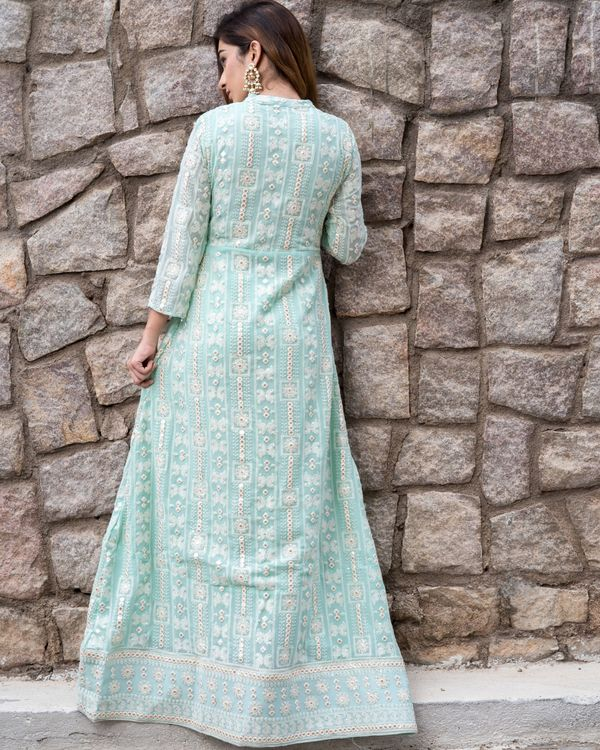 Mint green front slit laknavi cape with foil mirror work 4