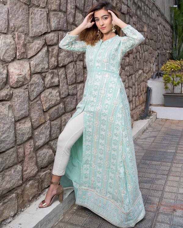 Mint green front slit laknavi cape with foil mirror work 5