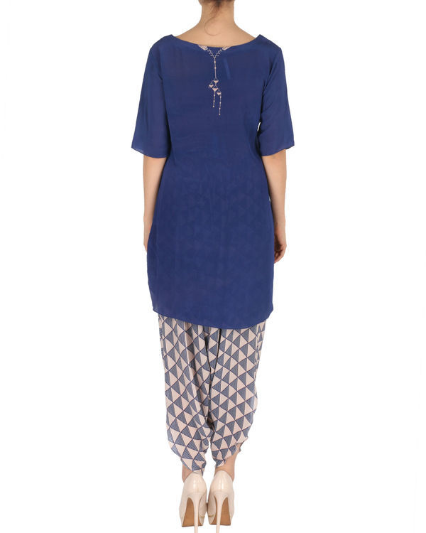 Kurta with patiala set in blue and peach 2