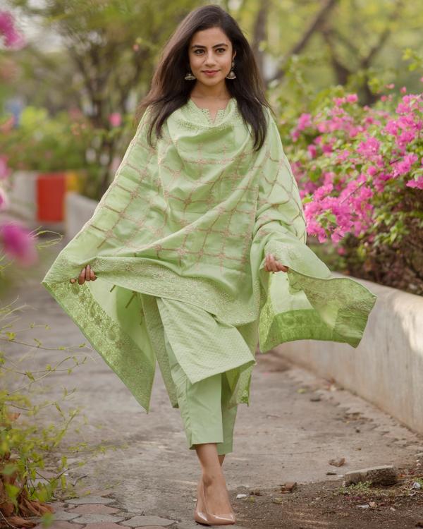 Fern Green Chanderi Kurta Set - Set Of Three 1