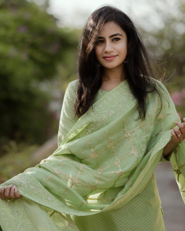 Fern Green Chanderi Kurta Set - Set Of Three 2