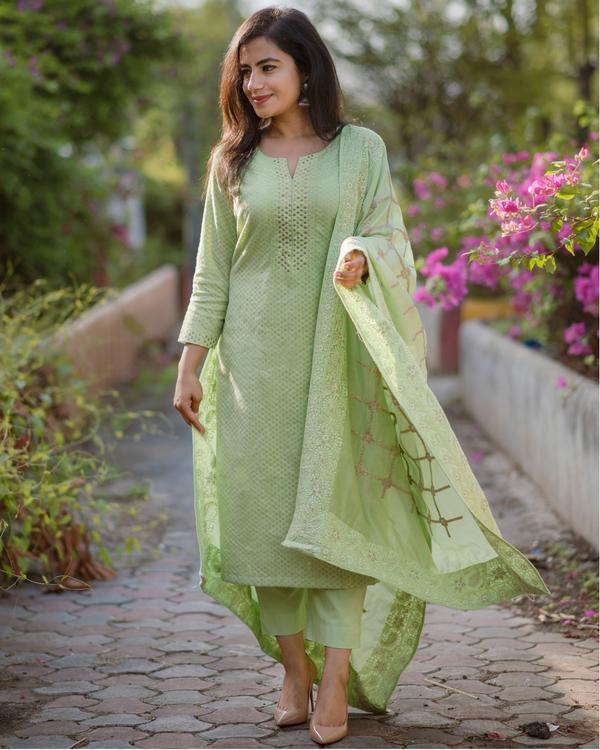 Fern Green Chanderi Kurta Set - Set Of Three 3