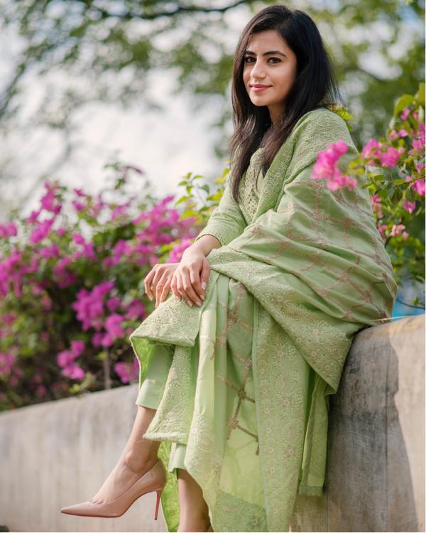 Fern Green Chanderi Kurta Set - Set Of Three 4