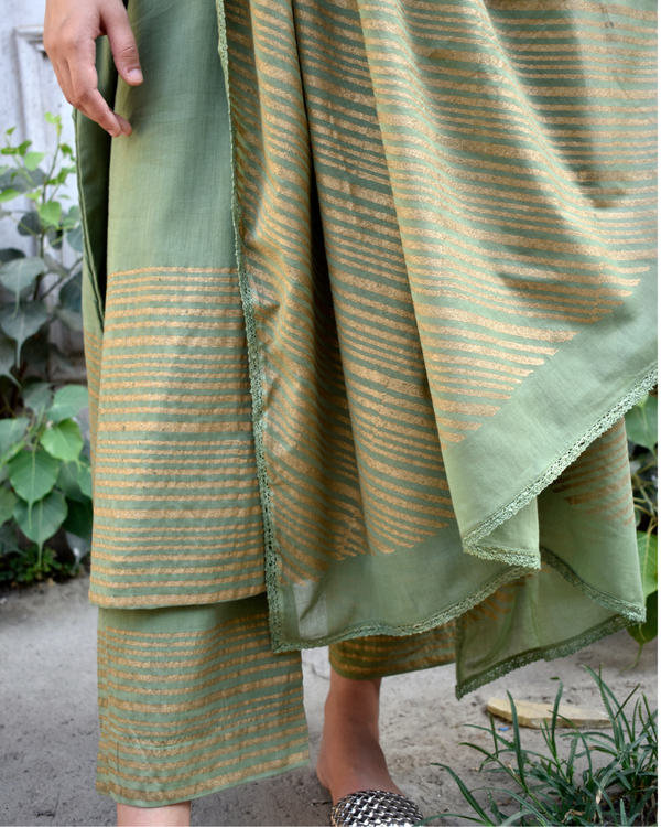 Olive Green and Gold Block Printed Set 1