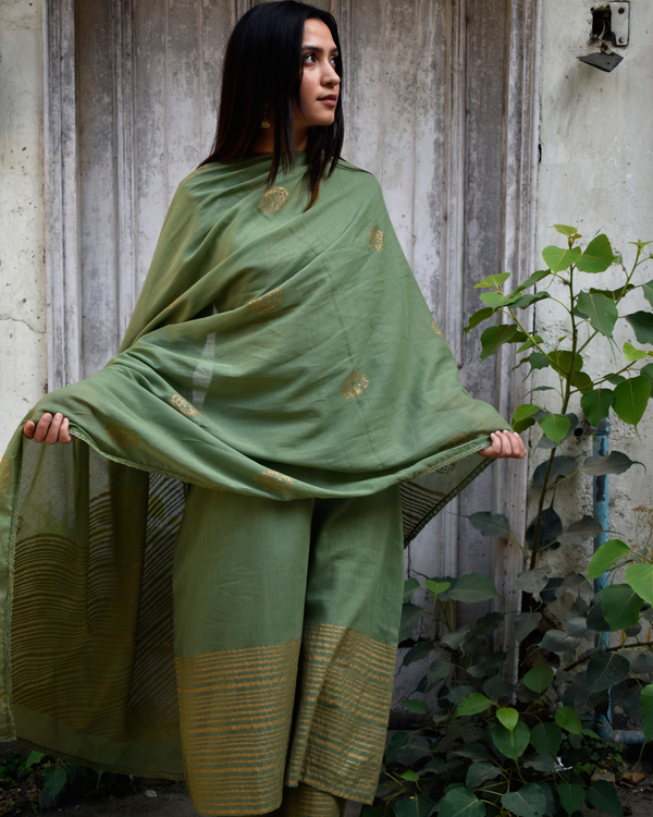 Olive Green and Gold Block Printed Set 2