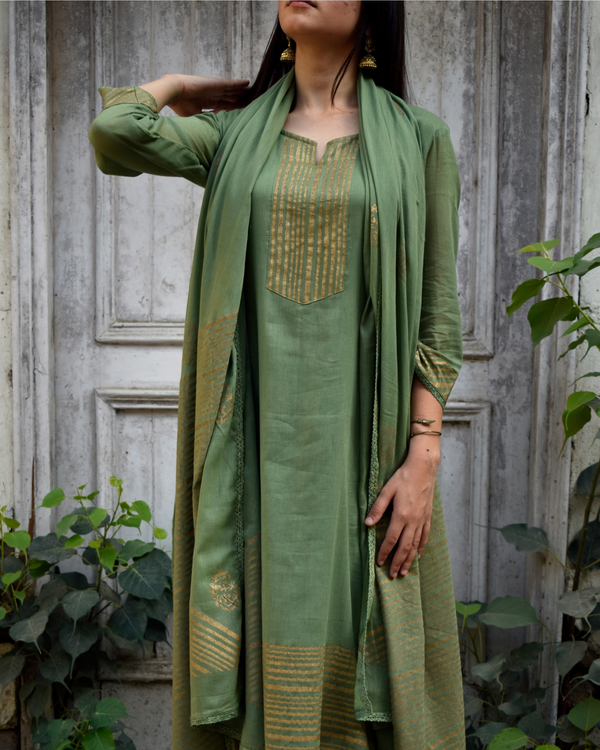 Olive Green and Gold Block Printed Set 4