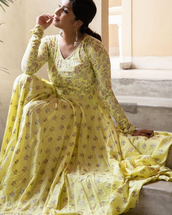 Pastel yellow foil floral dress 3