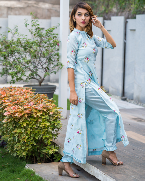 Powder blue embroidered kurta with pants - Set of Two 1