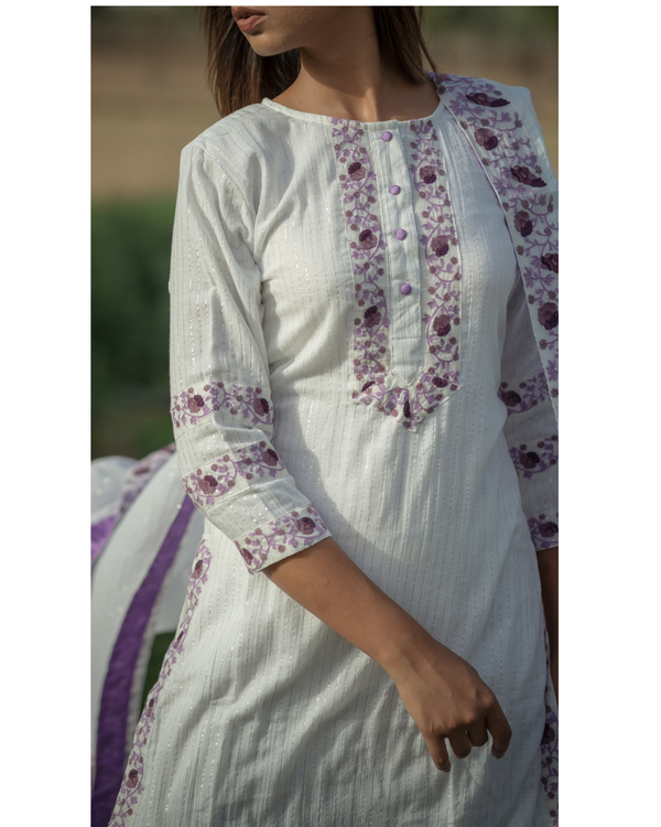 White Sharara Set with purple embroidery - set of three 2