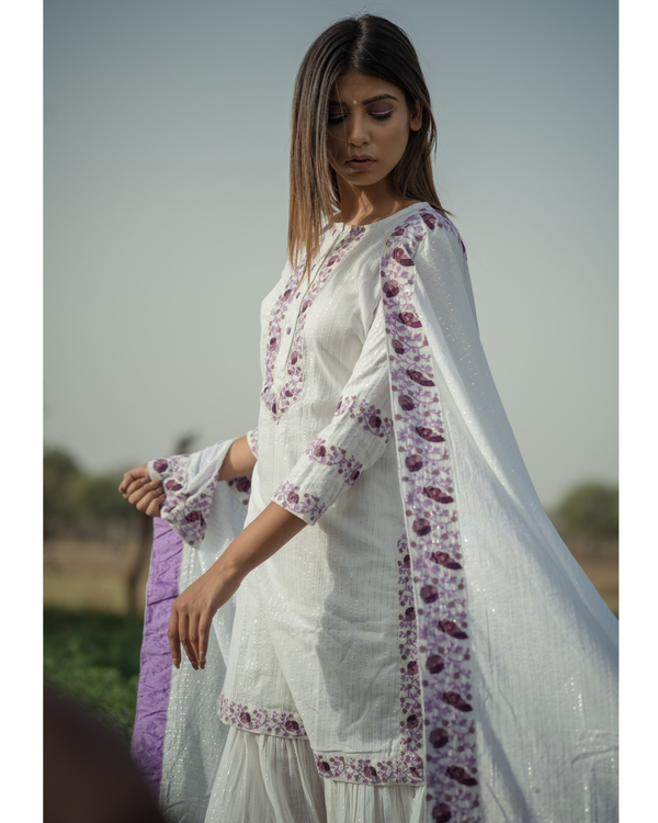 White Sharara Set with purple embroidery - set of three 3