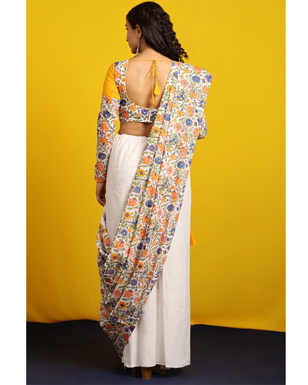 Ivory and floral half and half sari 2