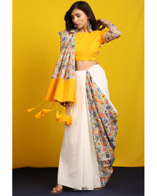 Ivory and floral half and half sari 3