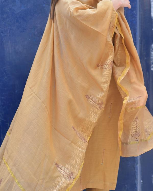 Apricot Chanderi Suit Set - Set of Three 1