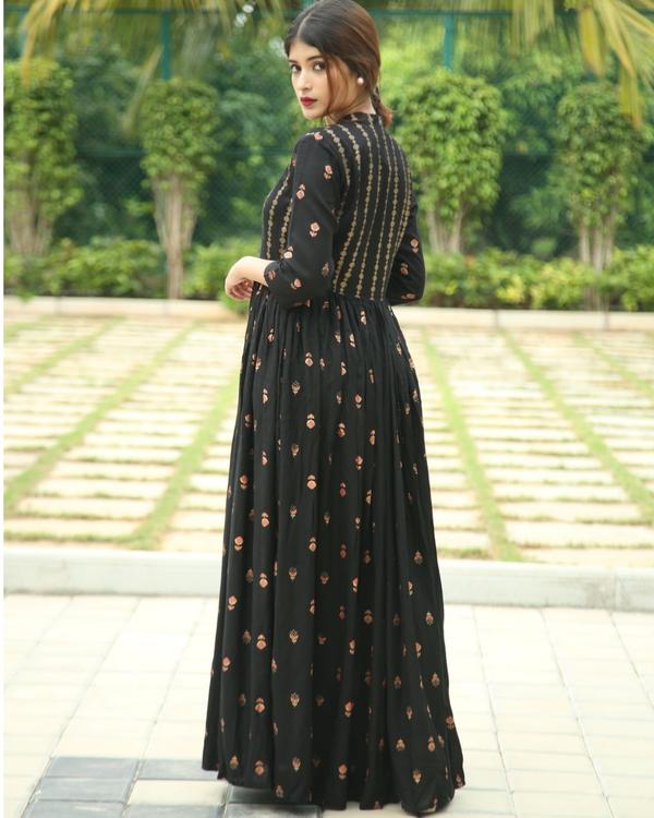 Onyx block printed flared dress 1