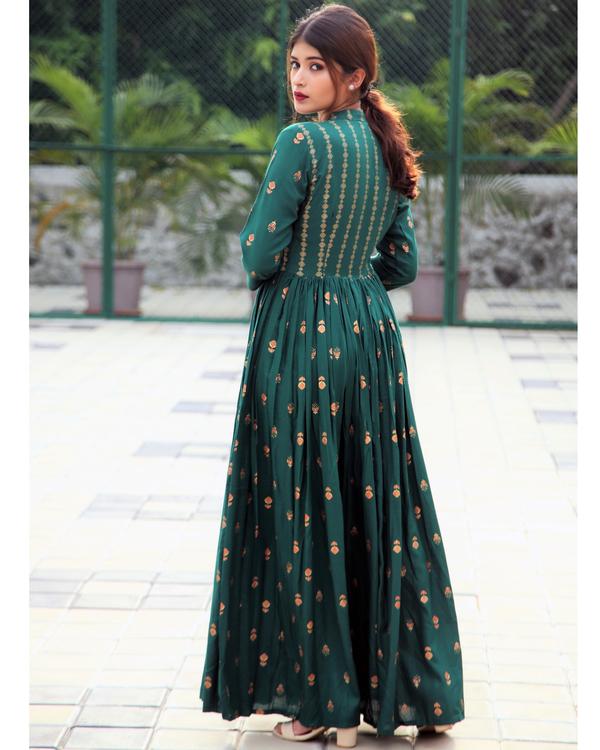 Emerald block printed flared dress 1