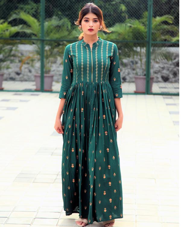 Emerald block printed flared dress 3
