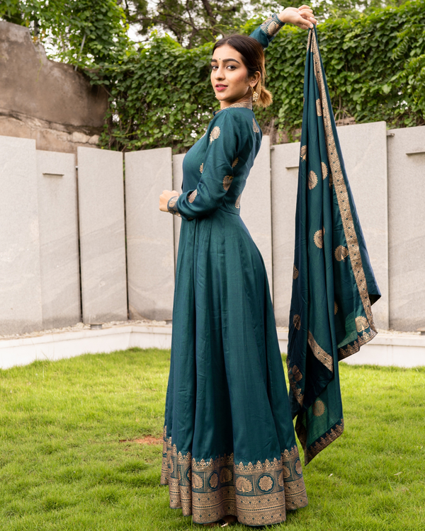 Teal and Gold Flared Anarkali with Dupatta - Set of Two 2