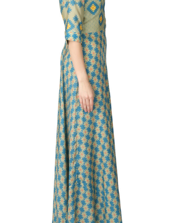Long olive green printed dress 1