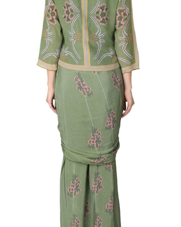 Olive green saree and jacket set 2