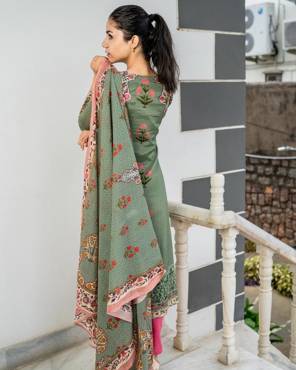 Pastel green printed kurta with dupatta - set of two 1
