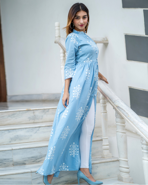Sky Blue Cape with White Printed Motif 1