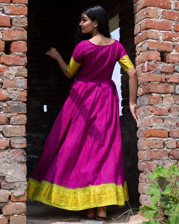 Purple madurai sungudi cotton maxi with contrast yoke 2