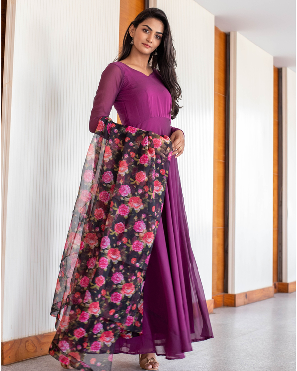 Wine Georgette maxi with floral organza dupatta-set of two 3