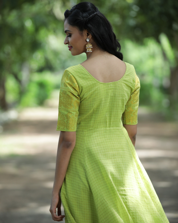 Lime green and gold madurai sungudi cotton maxi 1